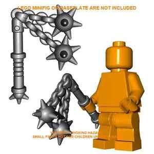 1x-Custom-Lego-Grey-Steel-DOUBLE-FLAIL-Minifig-Accessory-Weapon-Mace-Castle-LOTR