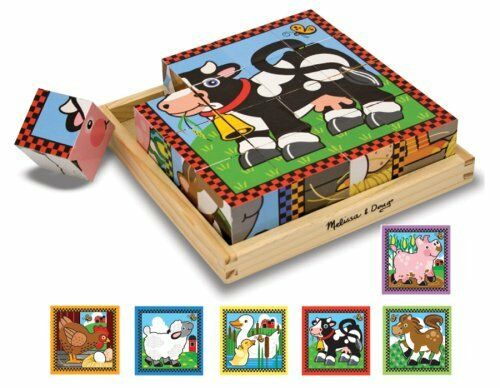 Melissa and Doug Farm Cube Puzzle , New, Free Shipping