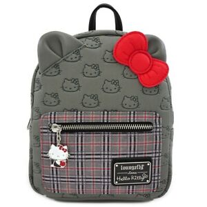 Loungefly Sanrio Hello Kitty Gray Plaid Tote Bag Purse With Long Strap