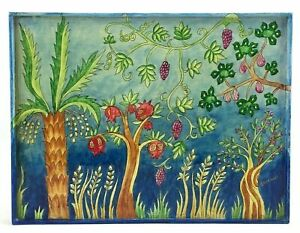 Floral-Serving-Tray-Handpainted-Signed-Emanuel-Art-Floral-Flower-Trees-Colorful