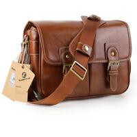 Vintage Waterproof PU Leather Camera Bag Shoulder Messenger Bag Fit DSLR Canon