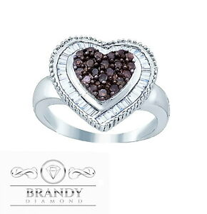 Brandy Diamond® Chocolate Brown Silver Baguette Double My Heart Ring .80C