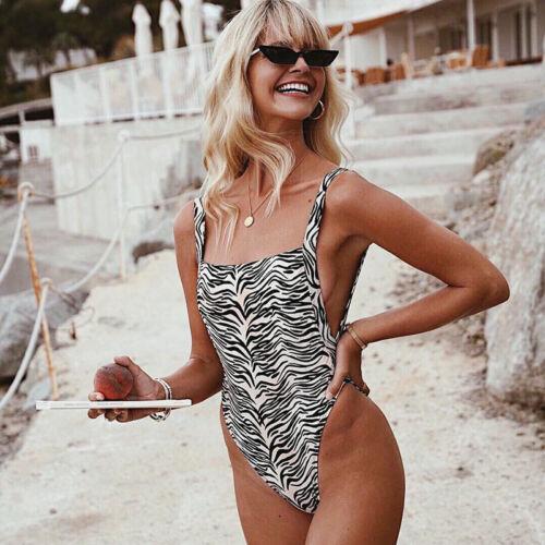 Damen Leopard Push Up Badeanzug Bikini Set Monokini Bademode Schwimmanzug Strand