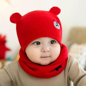 6e6b8b114fd 2 Pcs Autumn Winter Newborn Baby Knit Hat Scarf Set Cartoon Bear Kid ...