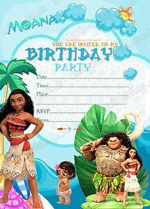 Image Is Loading Disney Moana Birthday Party Invitations Kids