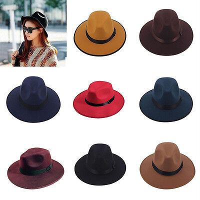 Vintage Women Wide Brim Ribbon Warm Wool Blend Felt Cap Bowler Trilby Fedora Hat