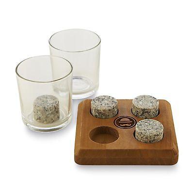 Ross Und Rye Whiskey Steine,2 Clear Gläser,4 Kühl-stick Steine Hölzerner Ständer Bar Tools & Accessories
