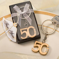 100 Gold 50th Anniversary Key Chain Ring Anniversary Party Event Favor Bulk Lot