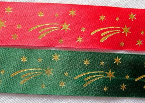 RUBAN SATIN ** 25 mm ** NOËL étoile filante Coloris au choix