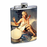 Flask 8oz Stainless Steel Classic Vintage Model Pin Up Girl Design-137