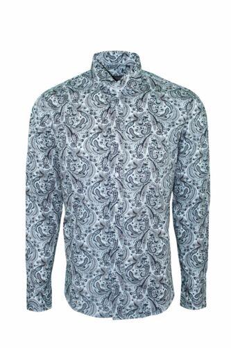 Dominic Stefano Straight Collar Paisley Smart Casual Mens Black Shirt 375