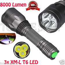 8000Lm Fackel Lampe 3x CREE XM-L T6 LED 18650 Taschenlampen 5-Modus Stablampe