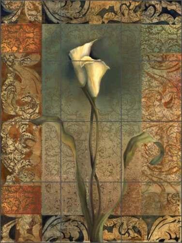 Lily Tile Mural Montillio Floral Art Ceramic Backsplash OB-LM65b