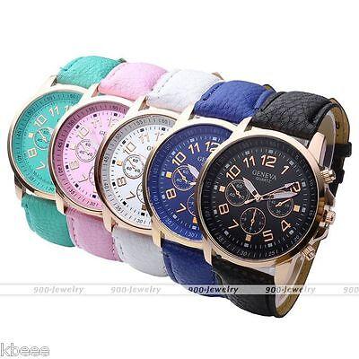 Women Men Round Rose Gold Case Leather Arabic Numerals Analog Quartz Wrist Watch