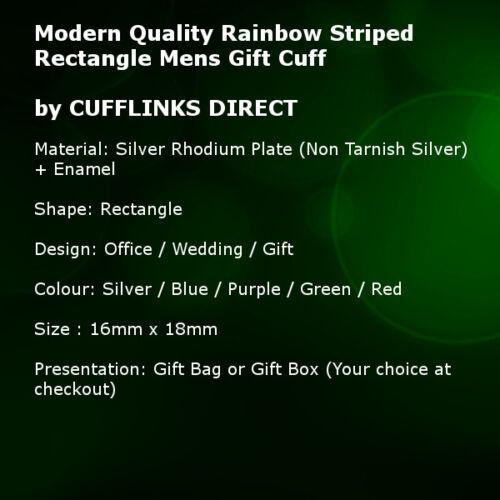 directo Moderno Arco Iris a Rayas Rectángulo Post atrás para Hombre Regalo Gemelos Cufflinks