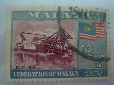 1960 Malaya 25c (Tin Dredge) Stamps