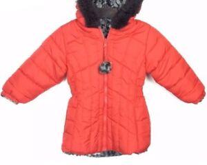 567c5754a46e BIG CHILL Girls Red Winter Coat Cheetah FUR REVERSIBLE Sz 2T 3T NEW ...