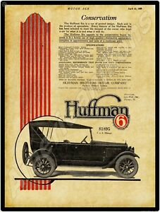 1920 Huffman Brothers Motor Company NEW Metal Sign IN Model 6 Auto Elkhart