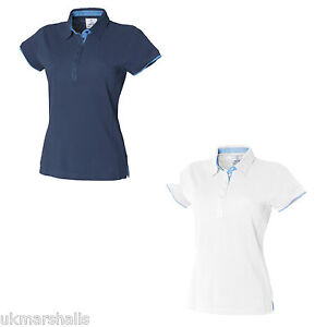 FRONT-ROW-LADIES-CONTRAST-COTTON-PIQUE-POLO-SHIRT-S-XXL-FR201