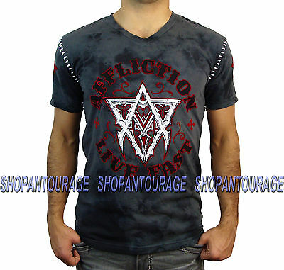 AFFLICTION Free Life A13432 Men`s New Charcoal V-neck T-shirt