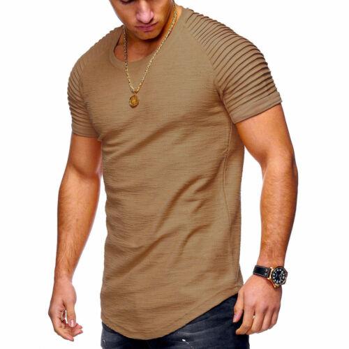 Herren Kurzarm T-Shirt Tops Tee Jacquard Striped Slim Fit Hip Hop Streetwear
