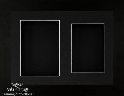 "11.5 x 8.5/"" Black Frame 3D Box Display Double 2 Aperture Mount Wedding Flowers"