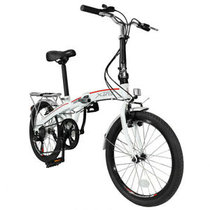 Xspec-20-034-7-Speed-City-Folding-Mini-Compact-Bike-Bicycle-Commuter-Shimano-White
