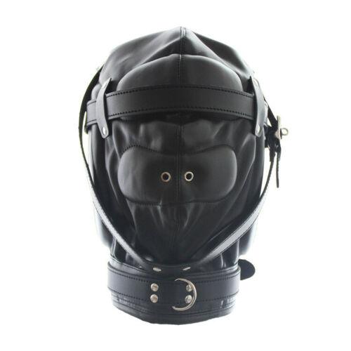Lockable Soft Pu Leather Gimp Hood Sensory Deprivation slave Mask adult bandage