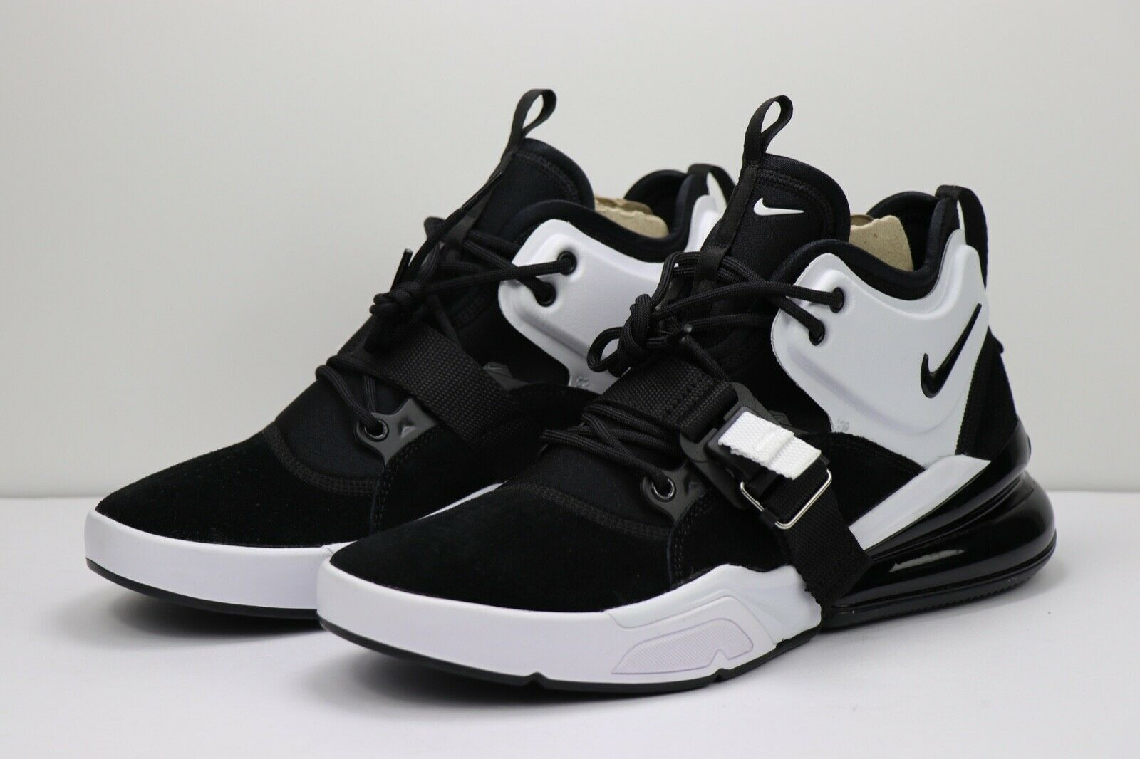 Nike Air Force 270 Black White Oreo Suede Training shoes AH6772-006 Mens Size 8.5