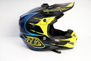 Troy-Lee-Designs-SE4-Polyacrylite-Hi-Viz-Yellow-Blue-XL-MX-MTB-Bike-Helmet-TLD