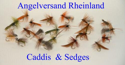 Spezialset Caddis /& Sedges 7 Muster 21 Stück Gr #14 professionell gebunden #10