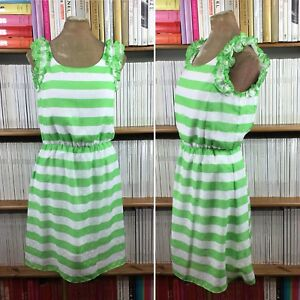 LILLY-PULITZER-dress-stripe-green-frill-logo-summer-S-UK-8-10-US-4-6