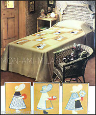 VINTAGE 1970s SEWING PATTERN • LITTLE WOMEN APPLIQUE PATCHWORK BEDSPREAD • CRAFT