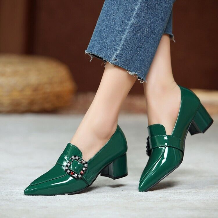 Womens Mid Block Heel Slip On Work Pumps Sexy Pointed Toe Patent Leather Shoes