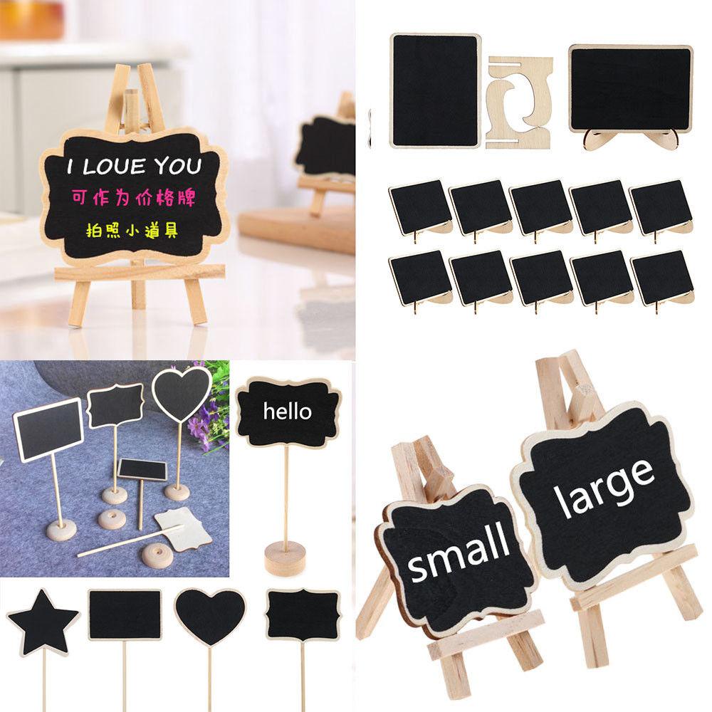 12pcs Mini Blackboard Memo Sign Message Small Note Chalk Board with Stand Clip