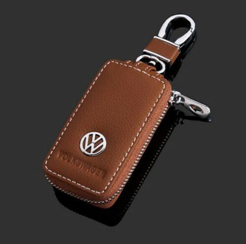 4 Colors Premium Leather Car Key Chain Coin Holder Zipper Case Remote Wallet Bag