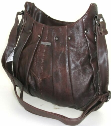 LADIES LORENZ COWHIDE REAL LEATHER STUDDED PLEATED CROSS BODY SHOULDER HANDBAG