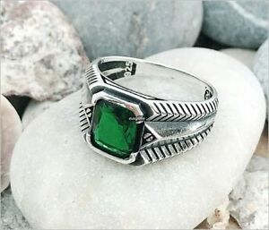 ad18573acec13 Details about Handmade New Design Green Zircon Stone 925 Sterling Silver  Men's Woman's Ring 09