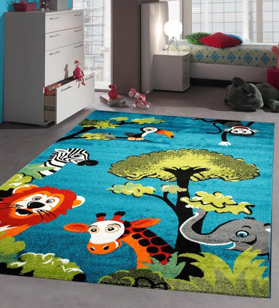 Nursery Rug Rug Blue Jungle neutre Unisexe Kids Bedroom Rug Nursery for girl or boy Play Mat 3ce790