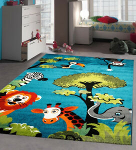 Kids-Jungle-Rug-Children-Bedroom-Rugs-Soft-Woven-Blue-Nursery-Mat-Carpet-Unisex