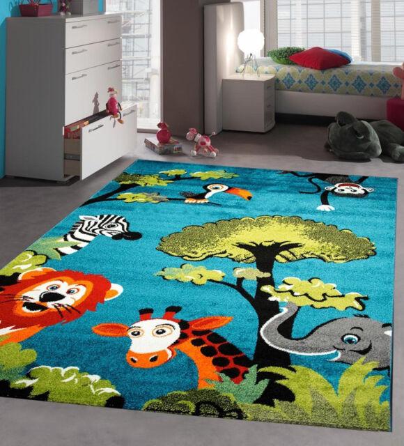 Blue Nursery Rug Soft Baby Bedroom Carpet Children Play Room Mat Jungle Animals 120x170cm Ebay