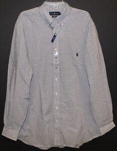 Polo-Ralph-Lauren-Big-Tall-Mens-XLT-White-Black-Check-Button-Front-Shirt-NWT-XLT