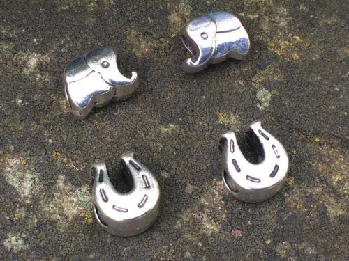 2 plata tibetana elefante//cuentas con agujero grande europeo de herradura