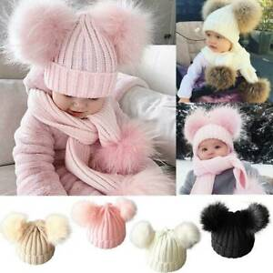 Newborn Kids Baby Boys Girls Fur Pom Hat Winter Warm Knit Bobble Beanie Cap US