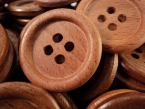 Gran italiano de madera haya natural 4 botones de agujero 34mm-W1003 Hecho en Italia