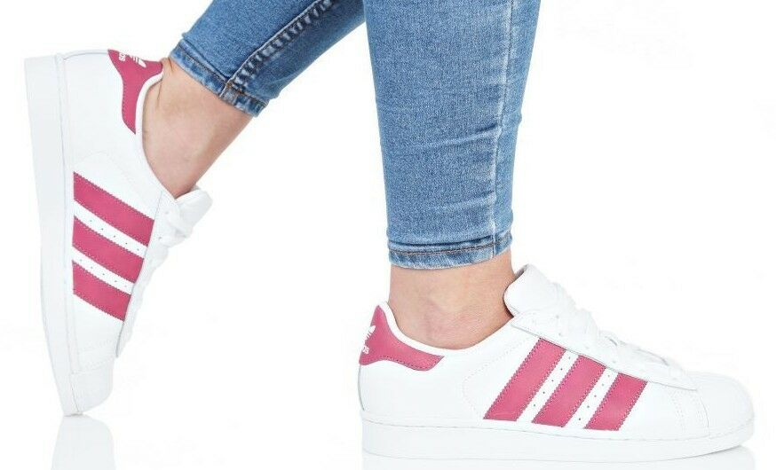 ADIDAS SUPERSTAR JUNIOR   WOMEN'S WHITE PINK STRIPS CQ2690 SNEAKERS