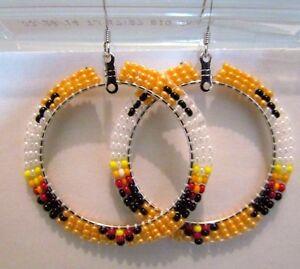 Image Is Loading Beautiful Native American Beaded Hoop Earrings 2 Inches