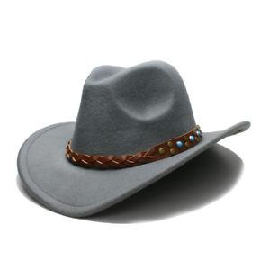 5bd4b93c5 Details about Men Women Western Retro Wool Cowboy Hat Cowgirl Equestrian  Game Wide Brim Caps
