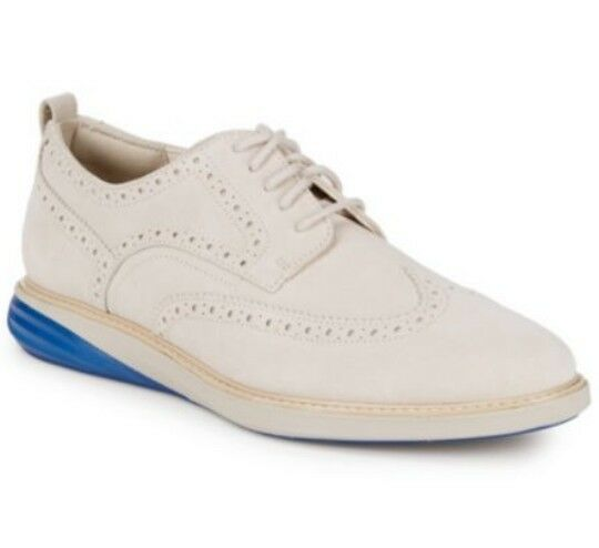 COLE HAAN Grand Evolution Off White Suede Wingtip Oxford shoes, Size 11 US