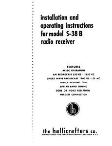 Details about Hallicrafters S-38B Radio Manual With Added Service Info on